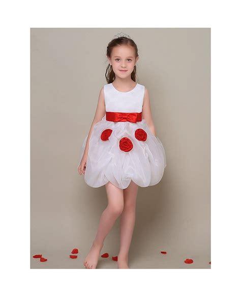 simple short white flower girl dress  red sash efl