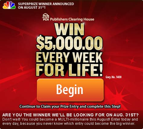 Pch 5000 A Week For Life Entry - 5000 a week for life winner selection list are you on