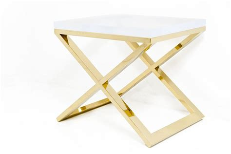 X Leg Side Table Brass X Leg Lucite Slab Side Table
