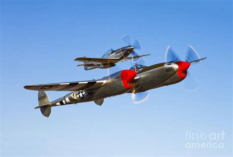 a p 38 lightning and p 51d mustang by germain