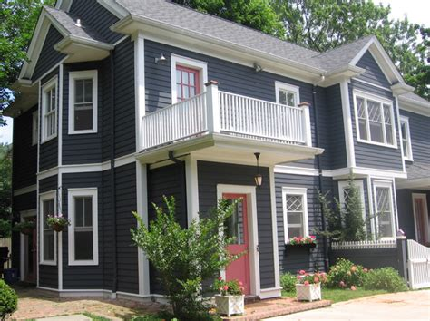 colonial house northport n y painted with cabot s slate gray exterior solid st traditional