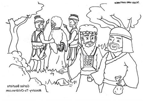 coloring page judas betrays jesus the garden gethsemane