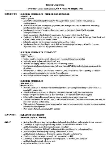 Surgery Assistant Resume by Program Scheduler Sle Resume Surgery Scheduler Resume