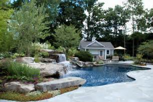 schwimmbad bergen backyard swimming pools waterfalls landscaping nj