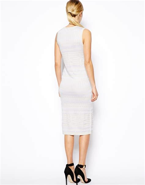 white patterned midi dress lyst asos sleeveless midi dress with contrast pattern in