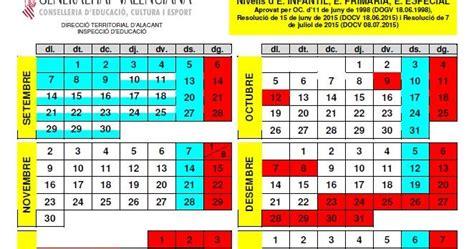 Calendario Escolar 2017 Comunidad Valenciana Calendario Escolar 2015 Y 2016 Calendar Template 2016