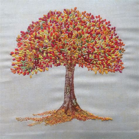 embroidery tree autumn tree embroidery sewn with silk embroidery threads