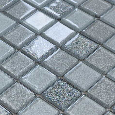 Gray Crystal Glass Mosaic Tiles Design Kitchen Bathroom