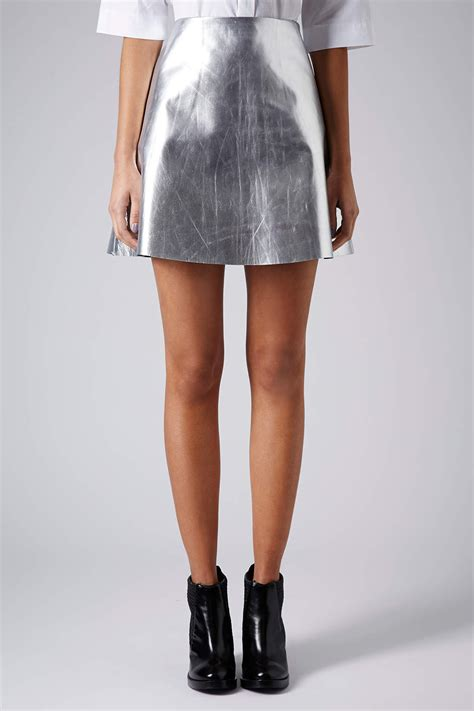 Topshop Ladybird Skirt by Topshop Silver Leather Skirt In Metallic Lyst