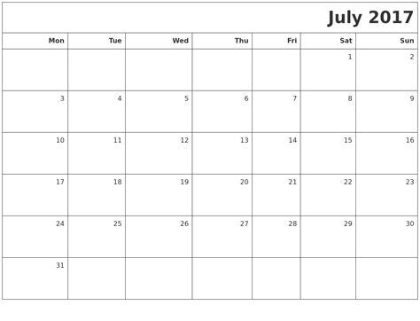printable calendar 2017 july july 2017 printable blank calendar