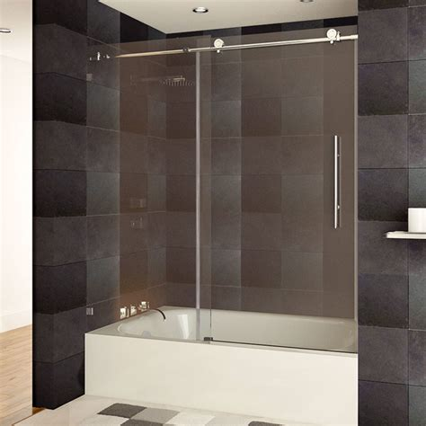 Chrome Shower Door Lesscare Ultra C 56 60 Quot W X 62 Quot H Clear Glass Bath Tub Door Chrome Finish Modern Shower Doors