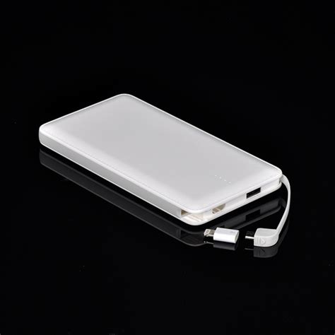 10000mah portable power bank ultra slim charger with built in cable external battery pack for