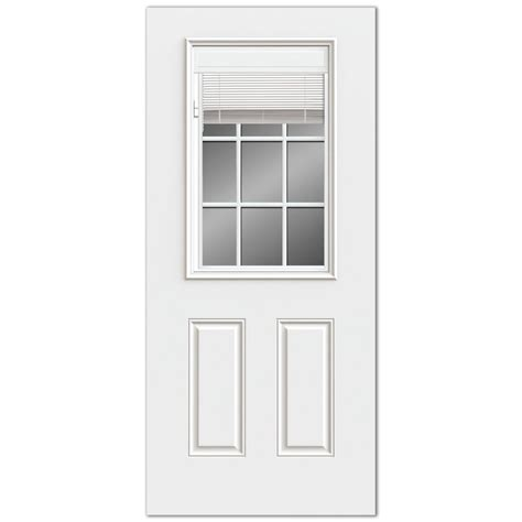 Steel Glass Panel Exterior Door Reliabilt Reliabilt 2 Panel Mini Blinds Between Glass Steel Entry Door Common 36 In X 80 In