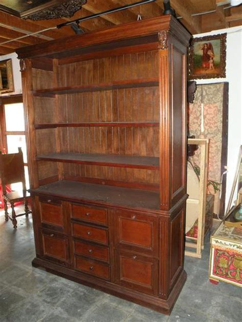 Leather Bookcase with file drawers, mediterranean home