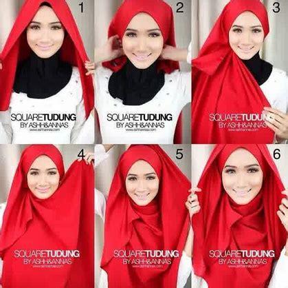 tutorial hijab segi empat buat anak sekolah cara mudah memakai hijab segi empat model baru
