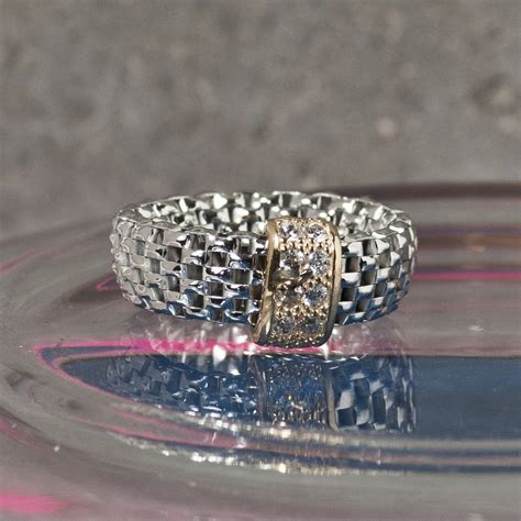 silver stretch ring with zircons