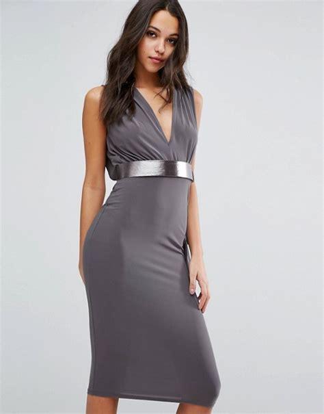 asos asos drape open back midi dress with metallic belt
