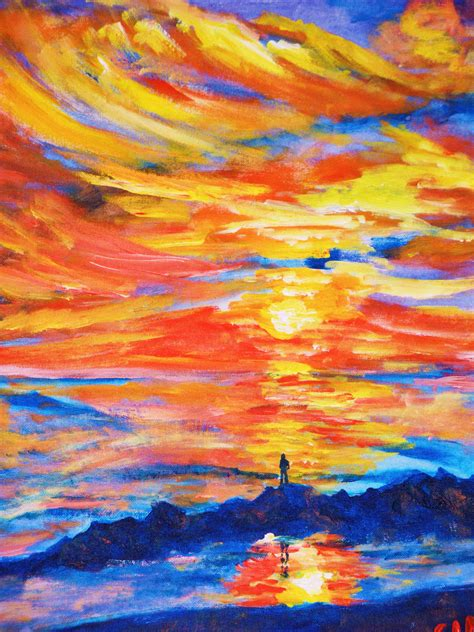 acrylic painting acrylic paintings of sunsets ginhafnerart s