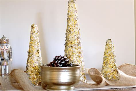diy glitter and gold christmas tree decor pinkwhen
