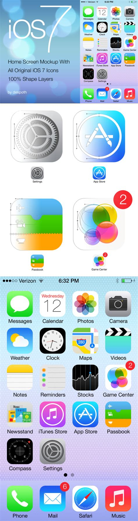 free ios 7 home screen with icons psd at