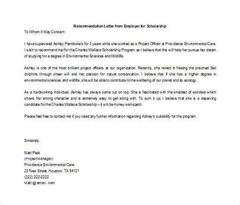 Reference Letter Scholarship letter of recommendation for scholarship 9 free word