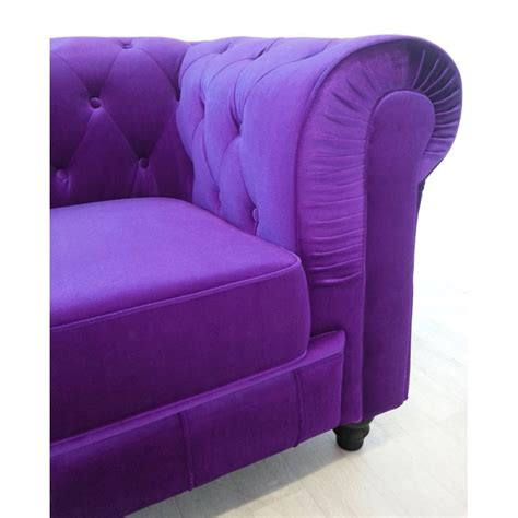 canape 3 places chesterfield velours violet pas cher
