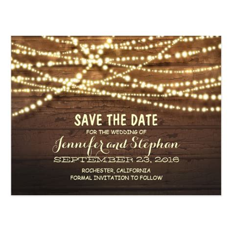 sting ideas for card string lights rustic wood save the date postcard