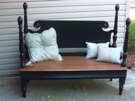 headboard and footboard repurposed into a bench country