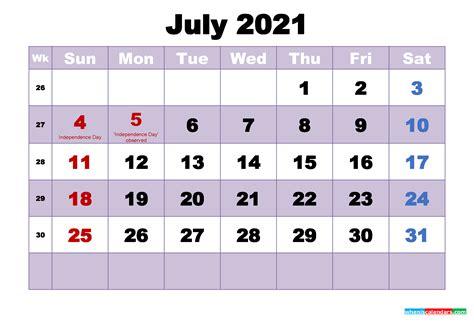 printable calendar july  word