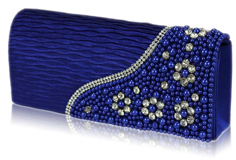 wholesale royal blue satin beaded clutch bag with