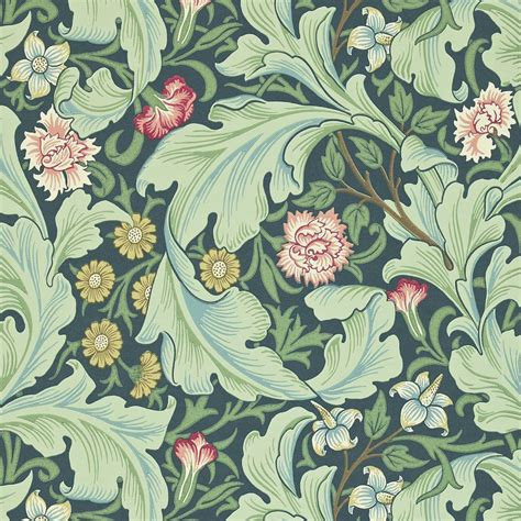 Leicester Wallpaper   Woad/Sage (212541)   William Morris