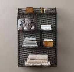 vintage wire cubby shelf bathrooms