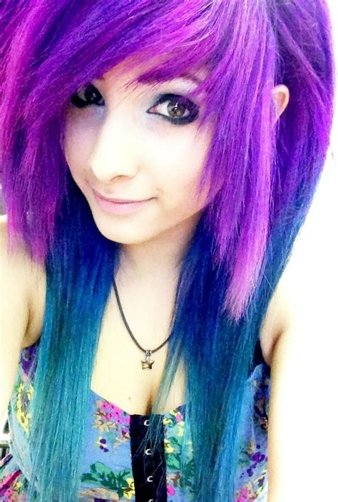 colorful hair styles purple and blue scene hair colorful hair pinterest
