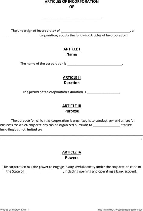 articles of incorporation template free articles of incorporation template 1 for free