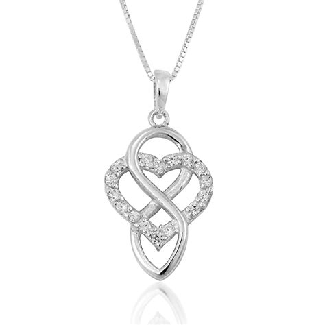 Clover Silver Pendant With Clear Cubic Zirconia And Neckla P 180 925 sterling silver clear cubic zirconia and infinity pendant necklace 18 inches