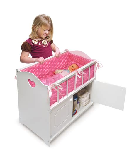 Crib For Dolls by White Storage Doll Crib With Bedding Ojcommerce