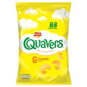 walkers quavers light curly potato snack cheese flavour 6 16g multipack crisps crisps