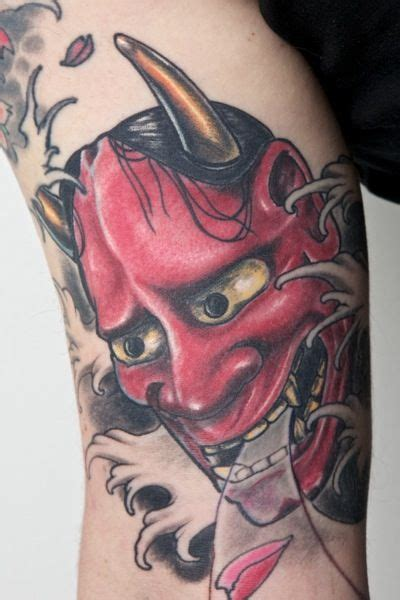 hannya tattoo meaning ink hannya mask on right bicep oni mask