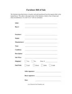 furniture bill of sale template