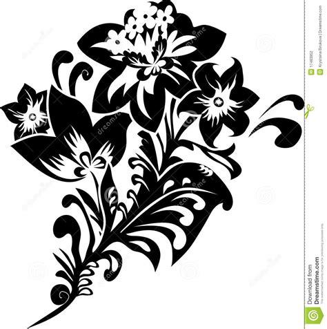 de zwarte stencil de fantasiebloem vector illustratie