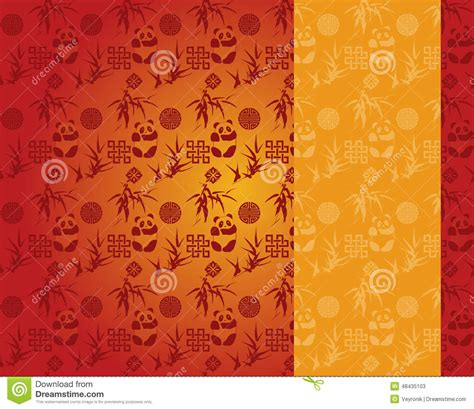 chinese gold pattern vector chinese red and gold panda and bamboo pattern vertical
