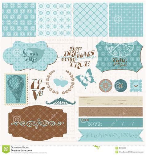 design online scrapbook scrapbook design elements vintage love set stock vector
