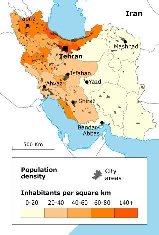 map  iran showing  population density geography