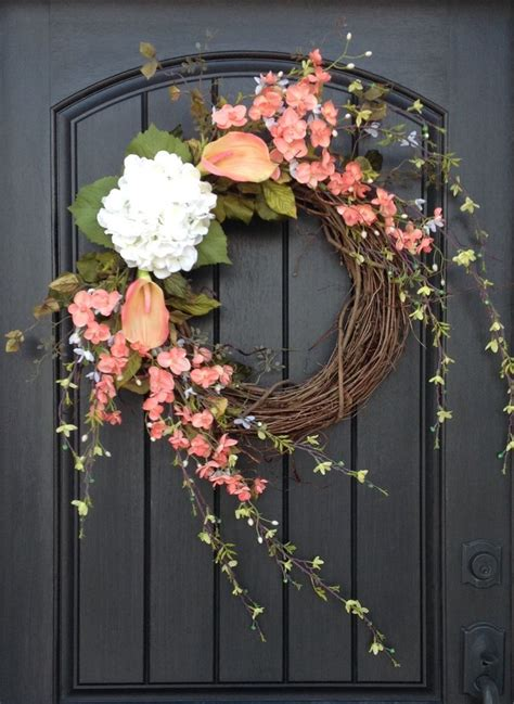grapevine floral design home decor the spring wreath summer wreath floral green white wispy