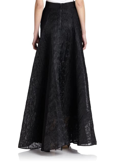 milly organza circle maxi skirt in black lyst