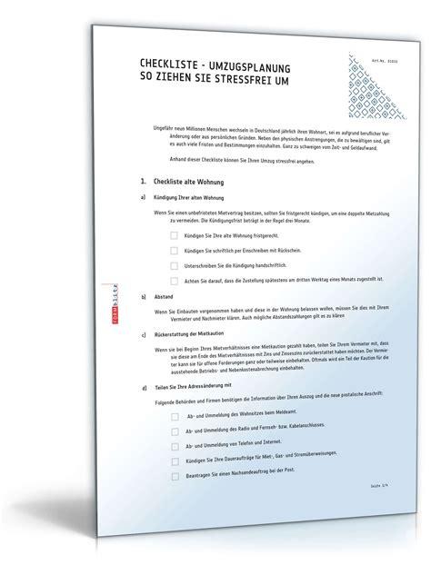 Musterbriefe Umzug Umzugsplanung Checkliste Zum