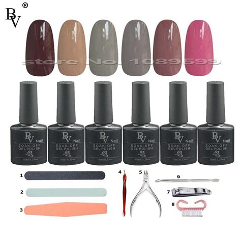 gel nail polish kit with uv light 6pcs bv soak off uv gel nail polish kit nail tools l uv