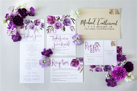 Purple Wedding Invitation Paper by Purple Flower Wedding Invitations Wedding Invitations