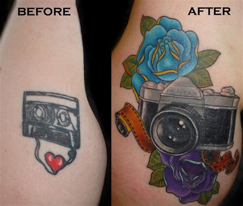 painless tattoo cover up featuring roses pentax 32mm slr