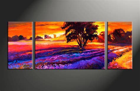 Landscape Pictures Canvas 3 Paintings Landscape Orange Photo Canvas